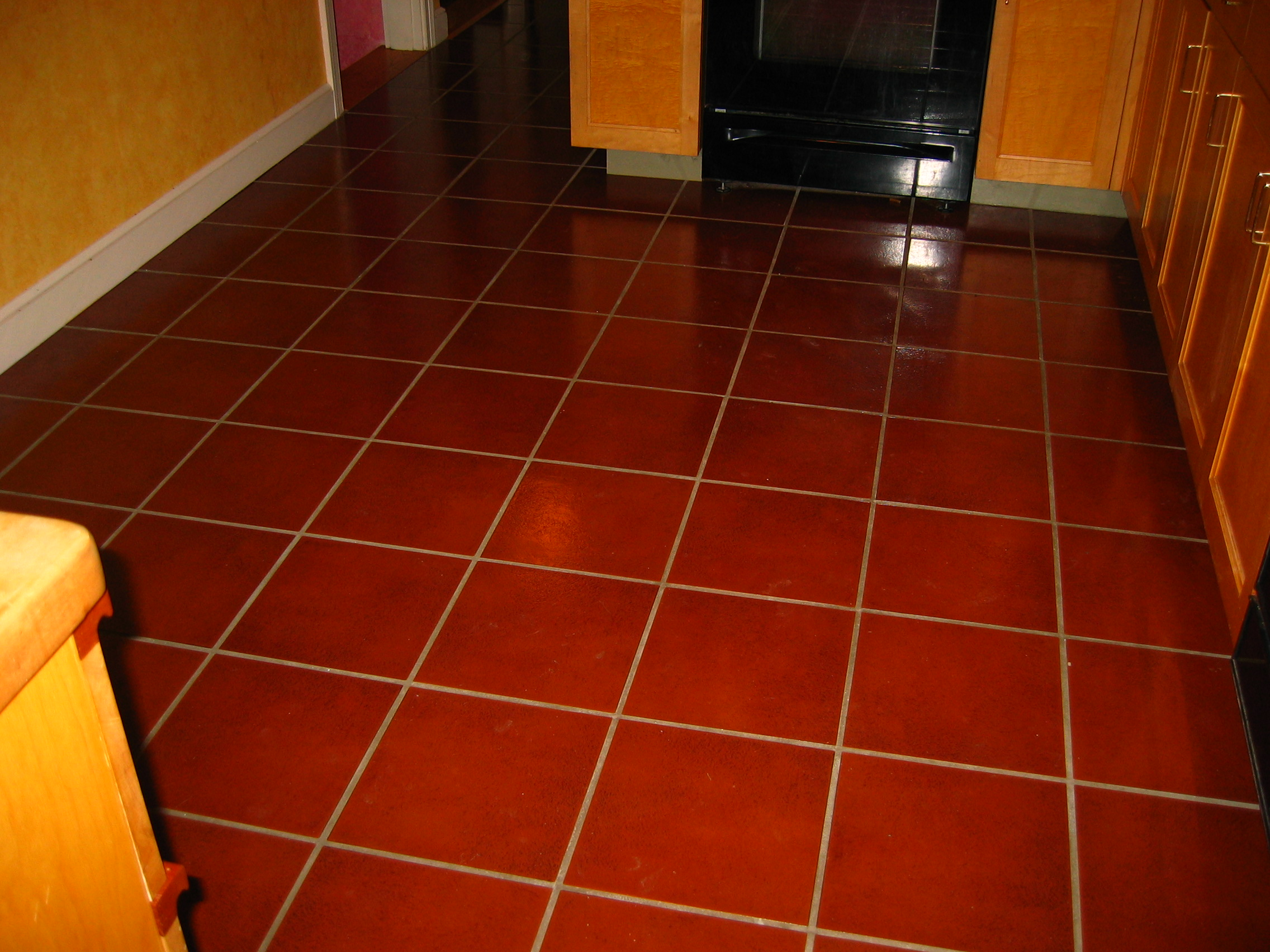 Td hall associates glazed ceramic tile on a kitchen floor tile installed over plywood underlayment over 1 inch thick pine subflooring dailygadgetfo Images